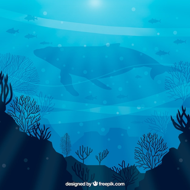Underwater background with different marine species Free Vector