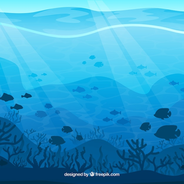underwater background with different marine species vector