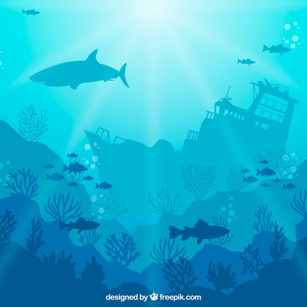 Underwater background with different marine species Free Vector