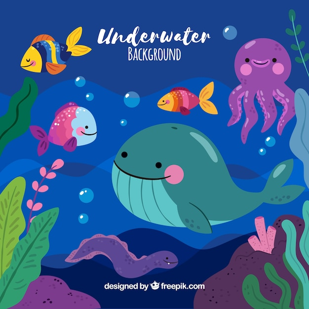 Underwater background with marine animals Free Vector