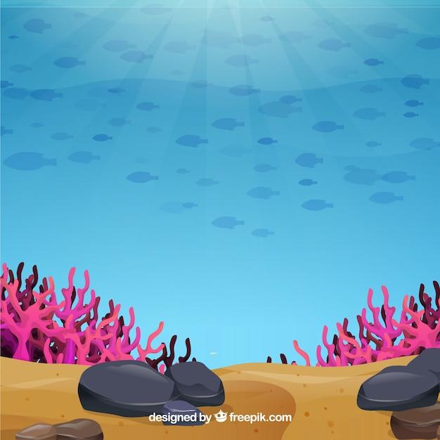 Underwater background with marine animals Free Vector