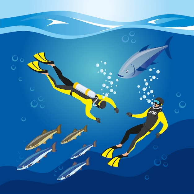 Underwater depths research composition Free Vector