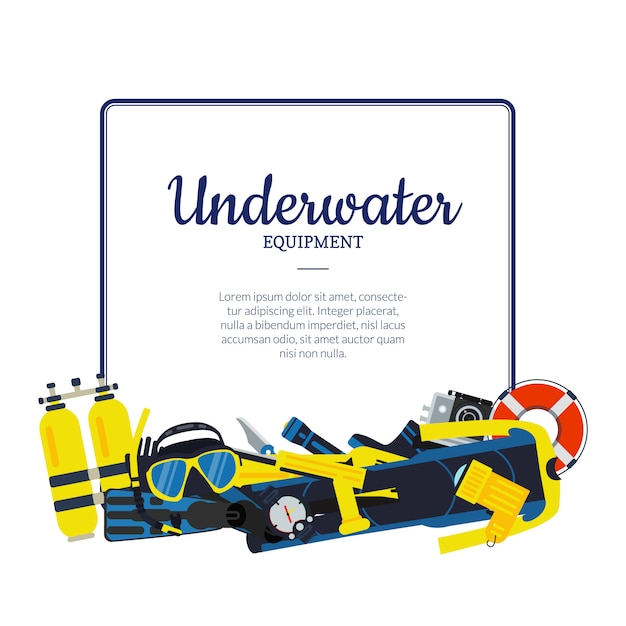 Underwater diving elements pile below frame with place for text Premium Vector