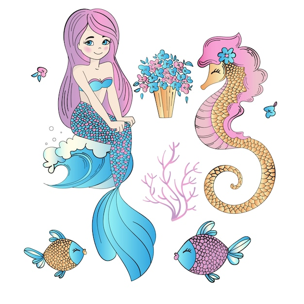 Underwater easter mermaid holiday vector illustration set Premium Vector