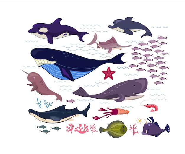 수 중 물고기와 동물 평면 아이콘 세트 무료 벡터