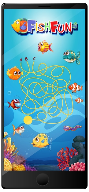 Free Vector Underwater Fish Game On Tablet Screen