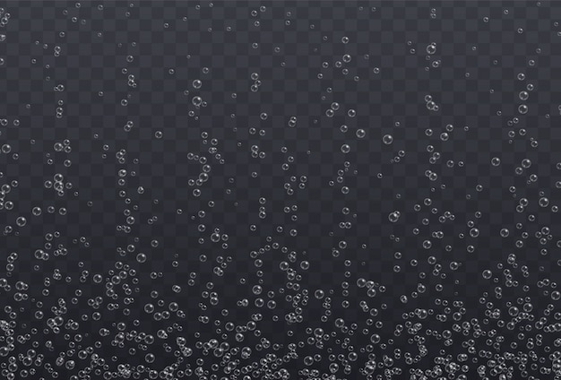 Underwater fizzing bubbles texture isolated on transparent background. effervescent water air bubbles, oxygen sparkles effect, soda or champagne drink. Premium Vector