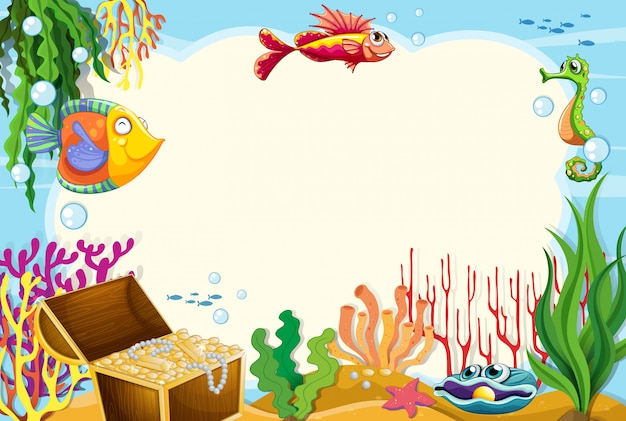 An underwater frame background Free Vector