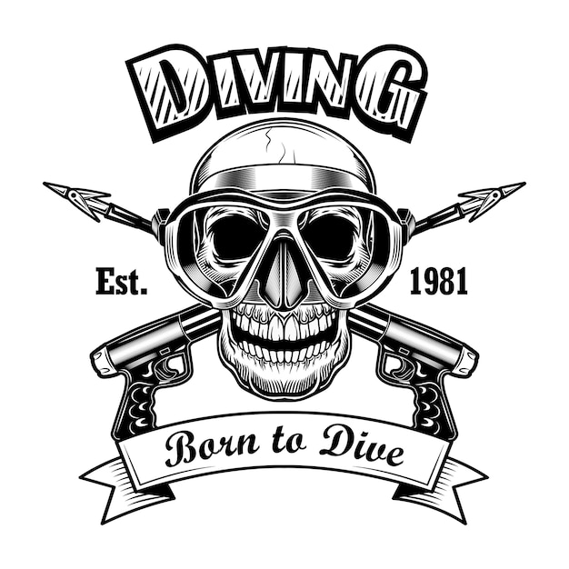 Underwater hunter skull vector illustration. head of skeleton with mask and crossed spearguns, born to dive text. seaside activity concept for scuba diving club emblems Free Vector