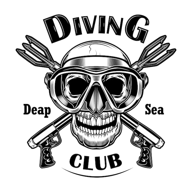 Underwater hunter vector illustration. skull in mask with crossed stun guns, deep sea text. seaside activity concept for diving club emblems Free Vector