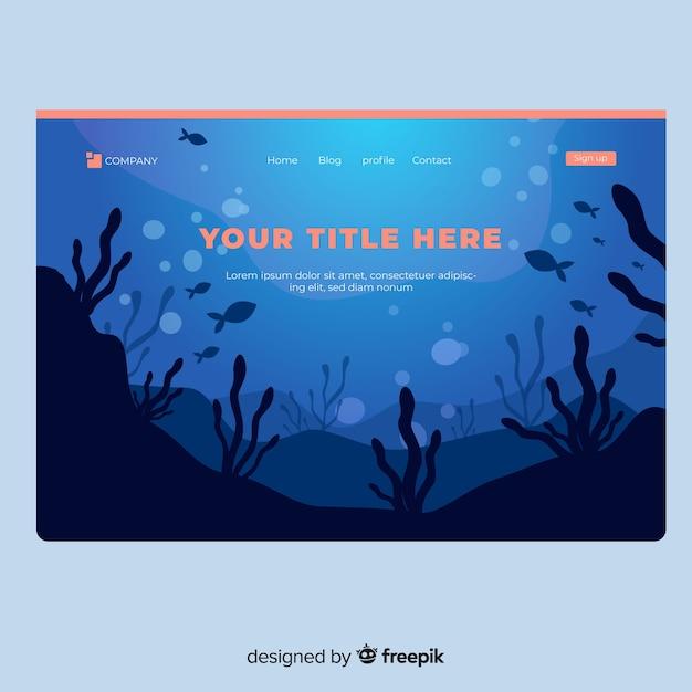 Underwater landing page Free Vector