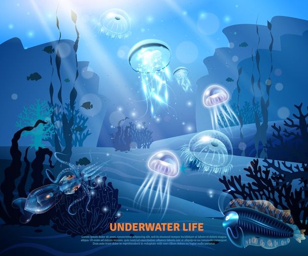 Underwater life background light poster Free Vector