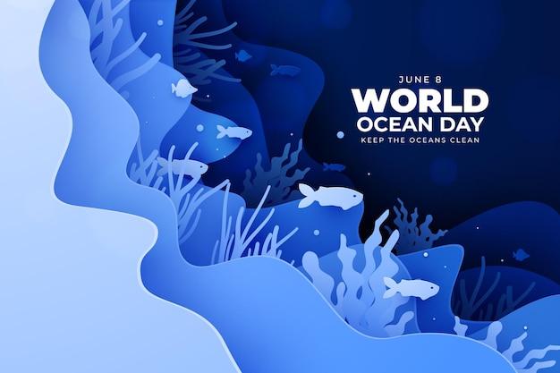 水中生活紙風の世界海の日 無料ベクター
