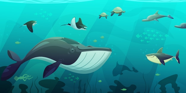 Underwater ocean live aquamarine flat abstract banner with shark squid fish turtles and seaweeds fla Free Vector