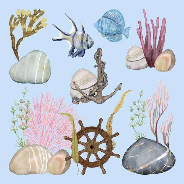 Underwater plants and ancient decorations Premium Vector
