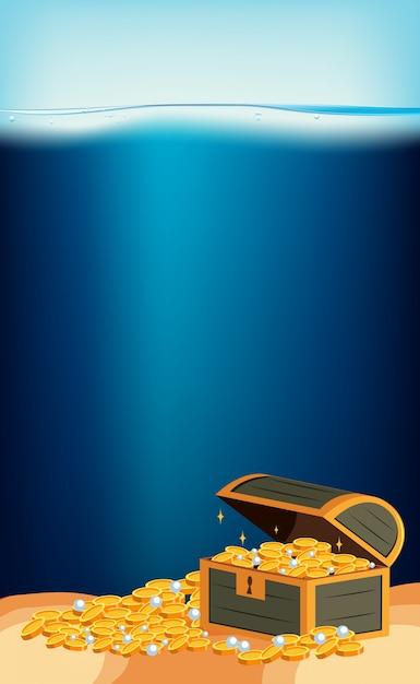 underwater scene with gold in treasure chest vector premium download