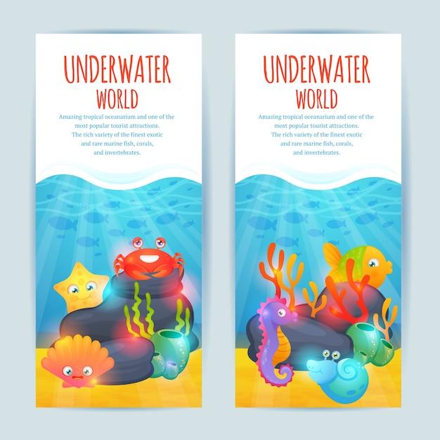 Underwater sea animals vertical banners set Free Vector