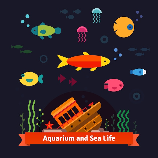 Underwater sea life. aquarium Free Vector