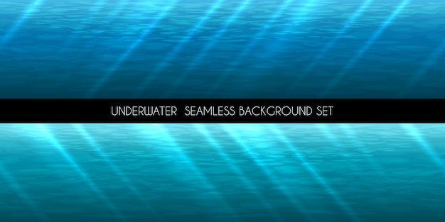 水中のシームレスな背景。ウォーターマリンブルー、ディープアクアティック、 無料ベクター