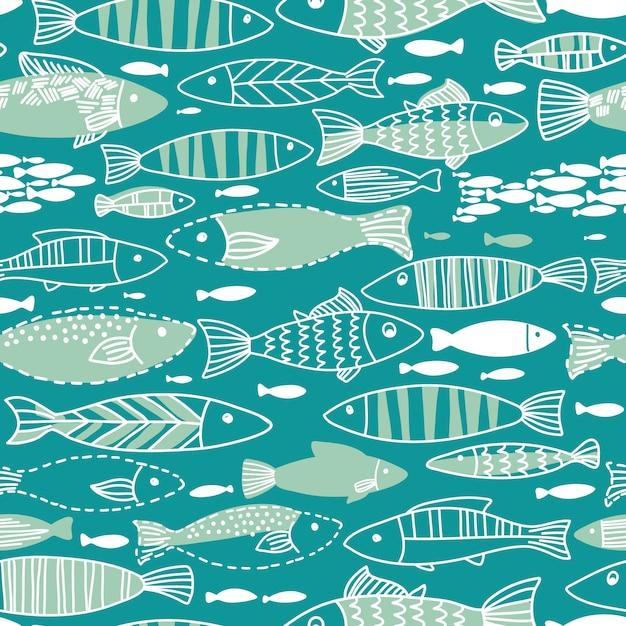 魚と水中のシームレスパターン。シームレスパターンは壁紙、webページの背景に使用できます。 Premiumベクター