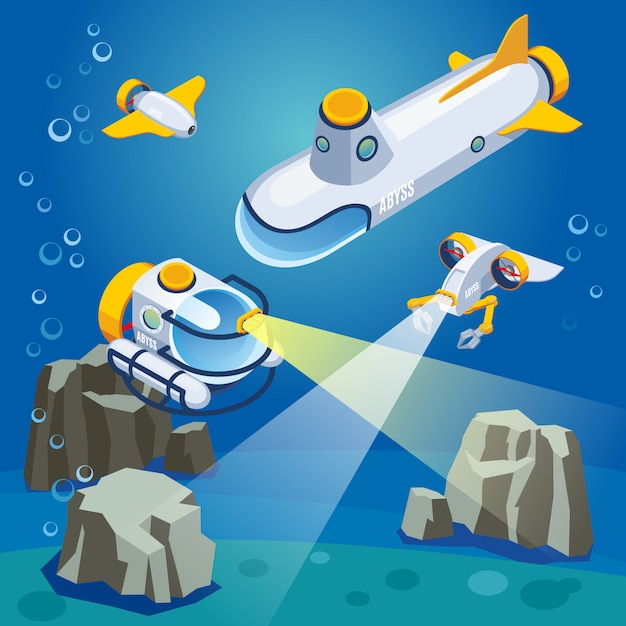 Underwater vehicles composition Free Vector