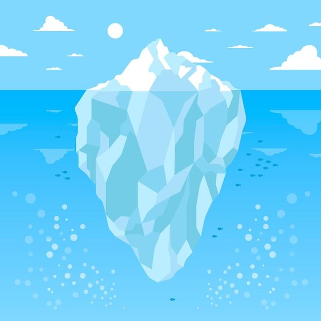 Подводный вид на айсберг при дневном свете Premium векторы