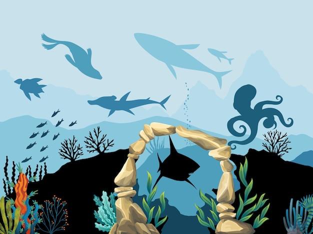 水中の野生生物。青い海の背景に魚と石のアーチと珊瑚礁。 Premiumベクター