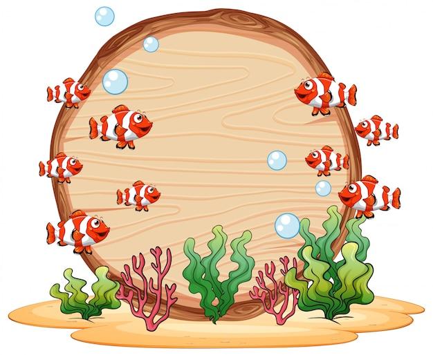Underwater wooden frame background Free Vector