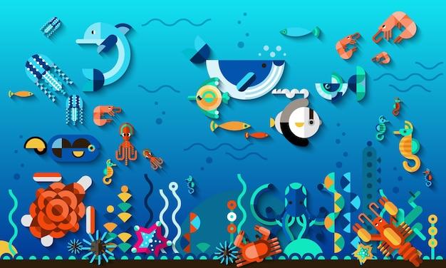 Underwater world concept Free Vector