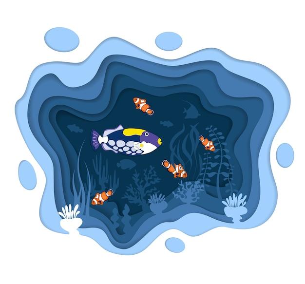 ペーパーカットスタイルの珊瑚礁の魚を使った水中世界のデザイン。エキゾチックな水族館。紺碧の海洋生物、ダイビング事業。海の水中野生生物。カリブ海の水生サンゴの動物相 Premiumベクター