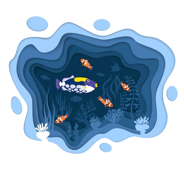 Underwater world design with coral reef fishes in paper cut style. exotic aquarium . deep blue mari
