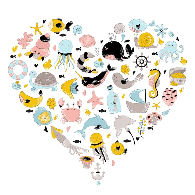 Underwater world heart Premium Vector
