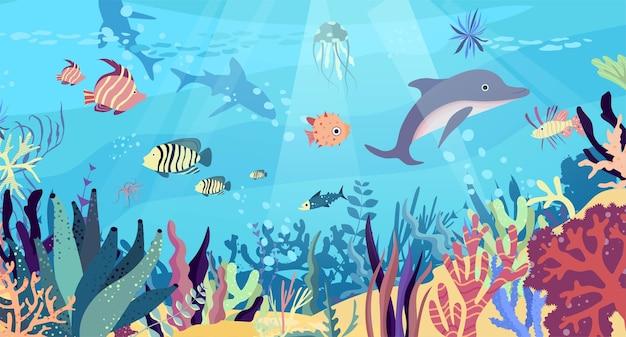 Подводный мир в океане. коралловый риф, рыбы, дельфины, акулы, медузы, подводная фауна тропиков. Premium векторы