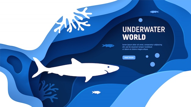 Underwater world page template. paper art underwater world concept with shark silhouette. paper cut sea background with shark, waves, fish and coral reefs. craft vector illustration Premium Vector