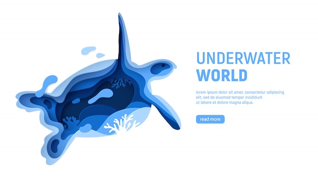 Underwater world page template. paper art underwater world concept with turtle silhouette. Premium Vector