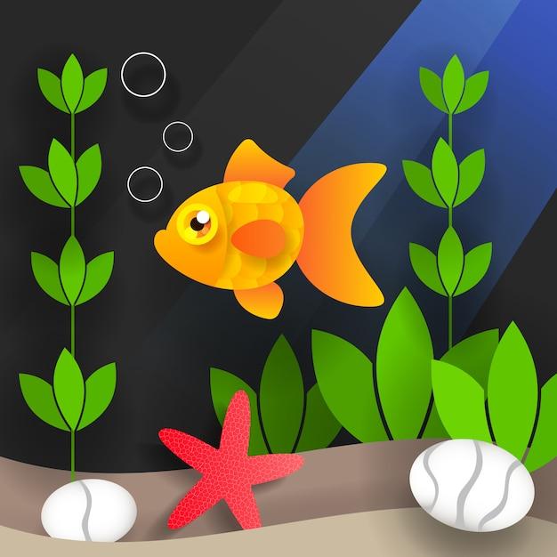 Underwater world and sea creatures Premium Vector