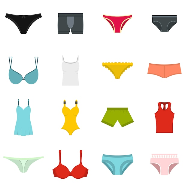 Underwear items icons set in flat style Premium Vector