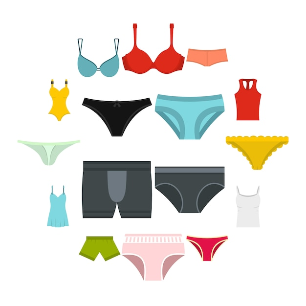 Underwear items icons set in flat style Premium Vector