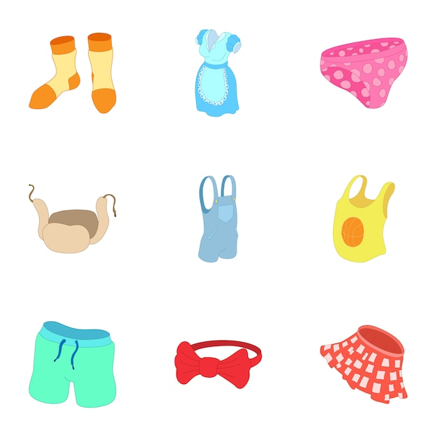 Underwear set, cartoon style Premium Vector