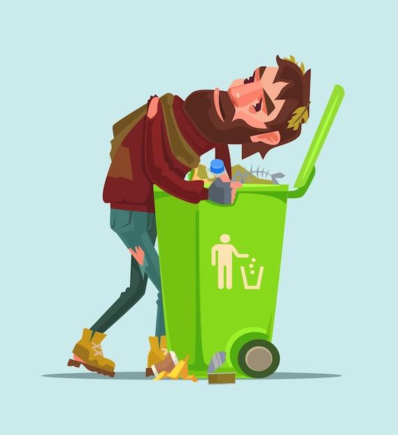 失業者のホームレスの男性がゴミ箱の漫画イラストで食べ物を探す Premiumベクター