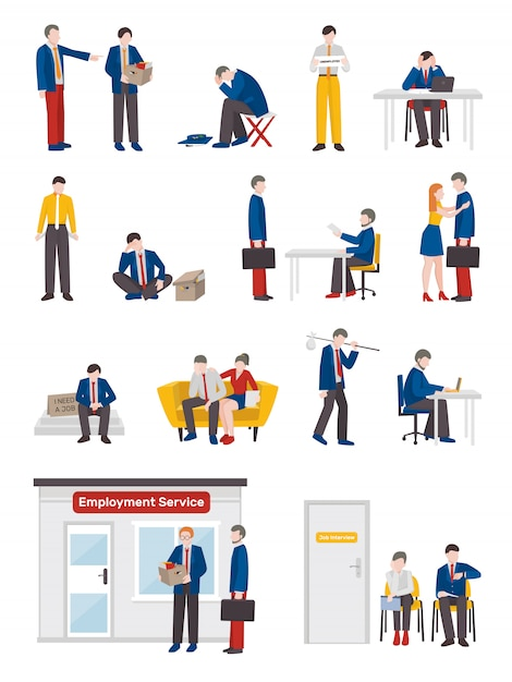 Unemployed people characters set Free Vector