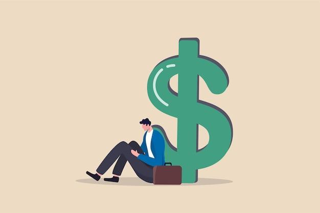Безработица, безработица, вызывающая финансовые проблемы, задолженность или служащий в офисе банкротства Premium векторы