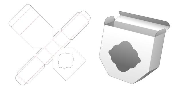 Unequal hexagonal box with curve window die cut template design Premium Vector