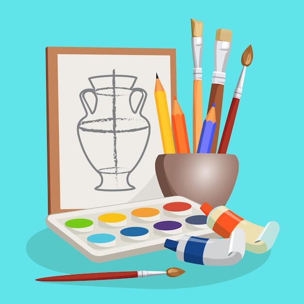 さまざまなブラシ、カラフルな鉛筆、水彩絵の具の横になっているセットが付いた小さなボウルの近くの花瓶の未完成の写真。写真を作るための芸術的なものの漫画イラスト Premiumベクター
