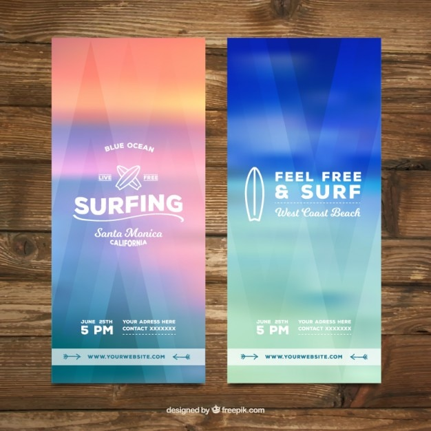 Unfocused colored surf banners