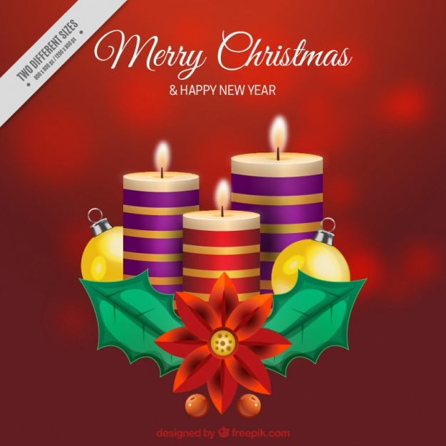 Unfocused red background with christmas candles Free Vector
