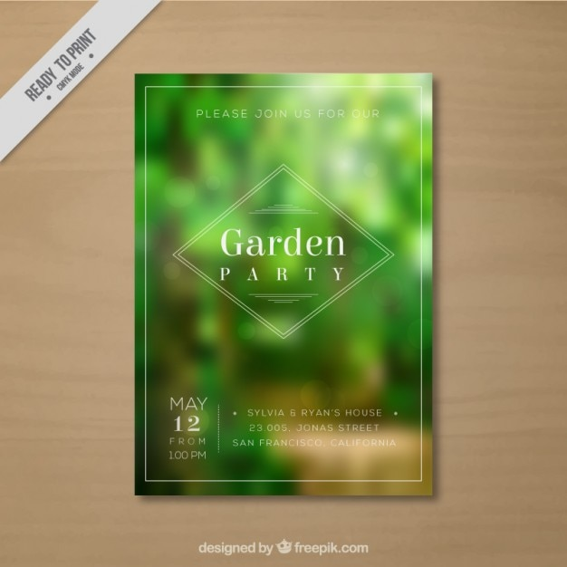 Unfocused vegetation garden party card Vector Free Download