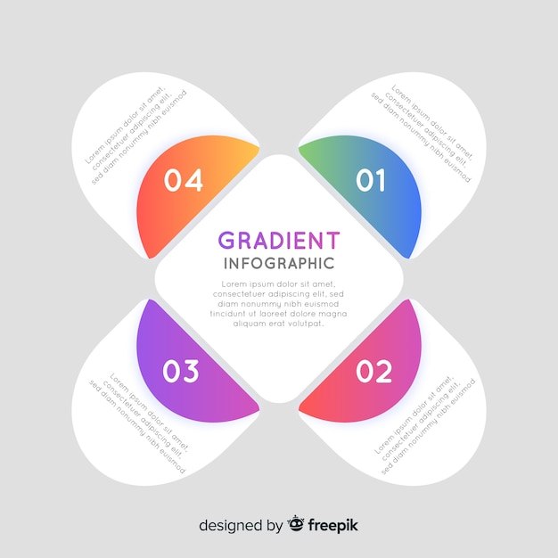 Unfolded gradient infographic with abstract form Free Vector