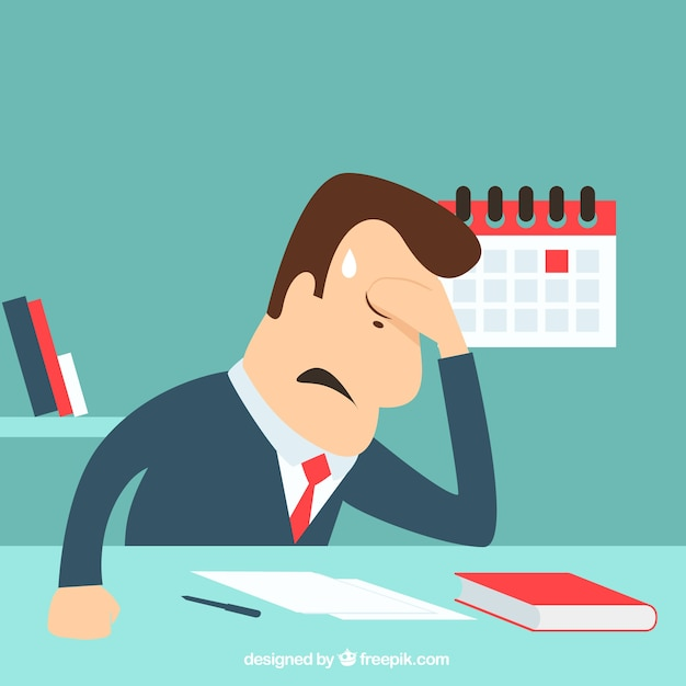 Unhappy businessman Free Vector