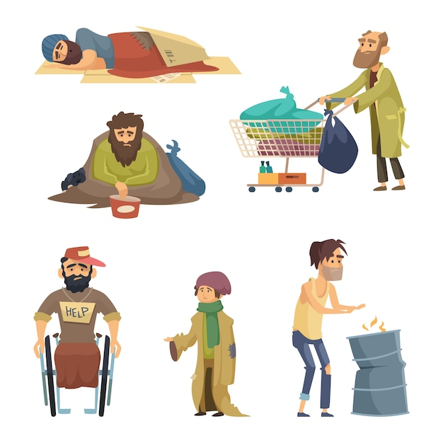 Unhappy dirty poor and desperate peoples. vector characters set Premium Vector